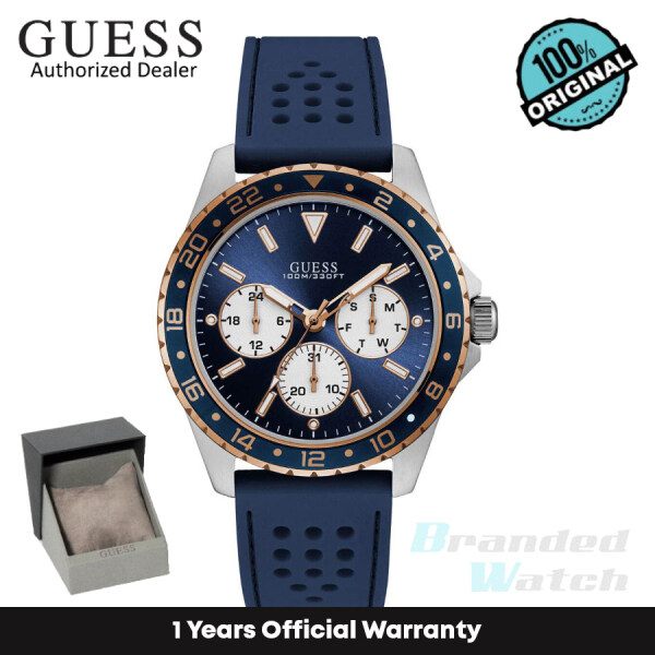 [Official Warranty] Guess W1108G4 Mens Chronograph Quartz Blue Dial Blue Silicone Strap Watch (watch for men / jam tangan lelaki / guess watch for men / guess watch / men watch) Malaysia