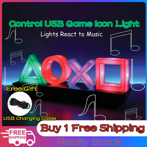 PS4 Lcon Light Sound Control Icon Light Suitable For Game Scene Room Atmosphere USB Charging Third Gear Adjustment Lcon Light