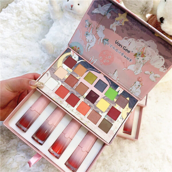 Buy Sky Adventures 5 pcs makeup set Lip Glaze Eyeshadow Set Matte Velvet Easy to color 18 color eye shadows are delicate and long lasting Singapore
