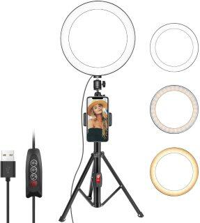 Neewer 10 Inches Selfie Ring Light with Tripod Stand and Cell Phone Holder for Live Stream Makeup, Mini Led Camera Ringlight for YouTube Video Photography Compatible with iPhone Xs Max XR Android thumbnail