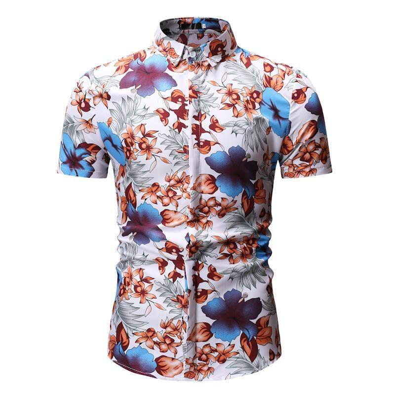 11790af91dfe Men s Shirt Casual Short-sleeved Flower Men Shirts Beach leisure Floral Blouse  Mens Clothing Summer