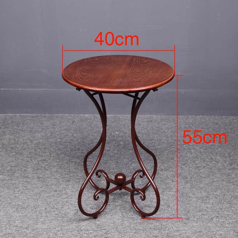 RuYiYu - 47x60cm, Simple Casual Small Round Table, European Wrought Iron Solid Wood Coffee Table, Sofa Corner Small Coffee Table