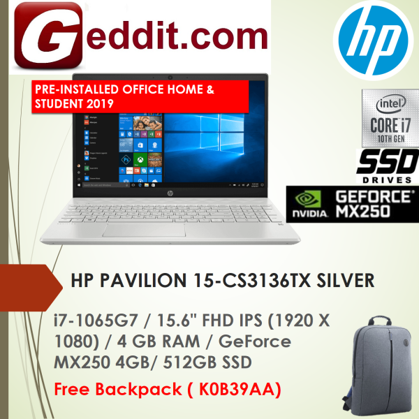 HP PAVILION 15-CS3136TX (SILVER) / 15-CS3137TX (BLUE) LAPTOP (I7-1065G7,4GB,512GB SSD,15.6 FHD,GEFORCE MX250 4GB,WIN10 ) FREE BACKPACK + PRE-INSTALLED OFFICE H&S 2019 Malaysia
