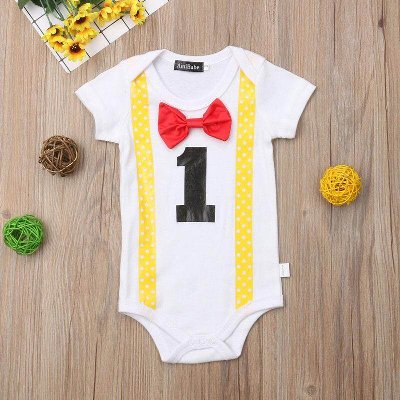 Baby Boys 1st First Birthday Romper Gentlemen Party Bodysuit Clothes Outfit Set