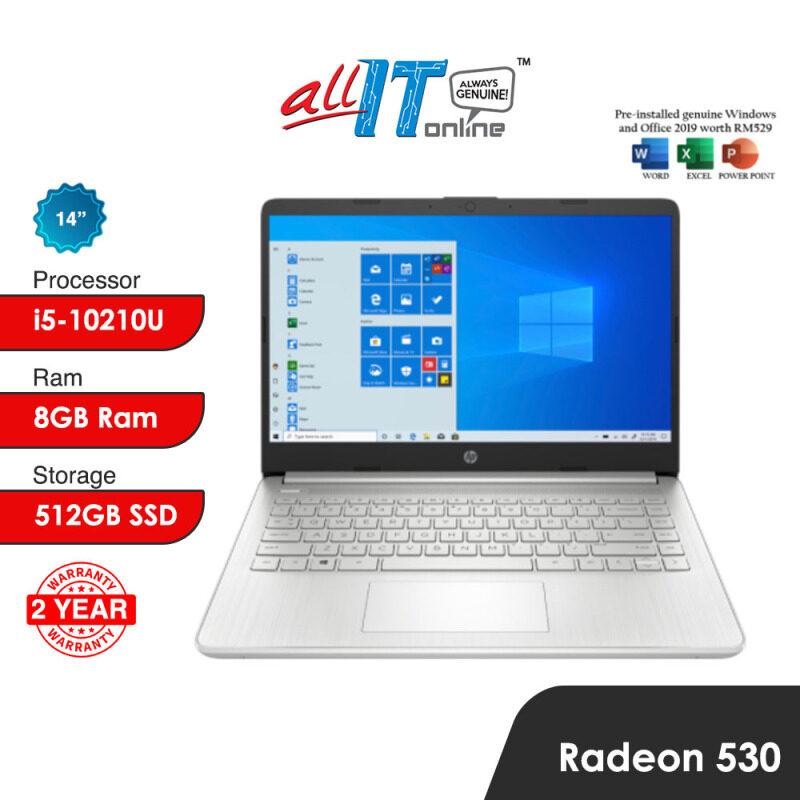 HP 14S-CF2040TX / 14S-CF2041TX Laptop (I5-10210U,8GB,512GB SSD, Radeon 530,W10H,H&S) Malaysia