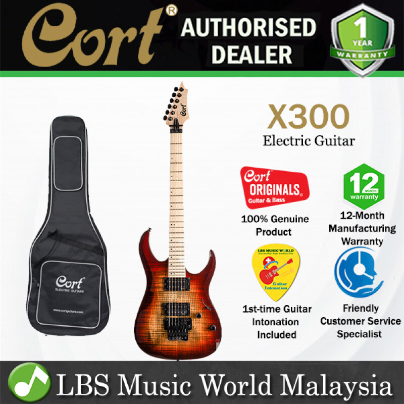 Cort X300 Double Cutaway Bolt On Flamed Maple Top HH Pickup Electric Guitar (X 300) Malaysia