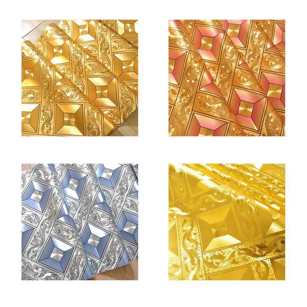 Mosaic Lattice Background Flicker Wallpaper Gold Metallic Leaf Wall Sticker Hotel Ceiling Decorative Wallpaper Roll