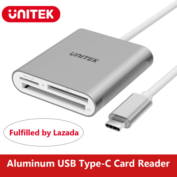 Unitek 3 in 1 USB C Card Reader, Aluminum 3-Slot USB 3.0 Type-C Flash Memory Card Reader for Type C Device, Supports SanDisk Compact Flash Memory Card and Lexar Professional Compact Flash Card, Reading SD/Micro SD/CF Cards - Grey