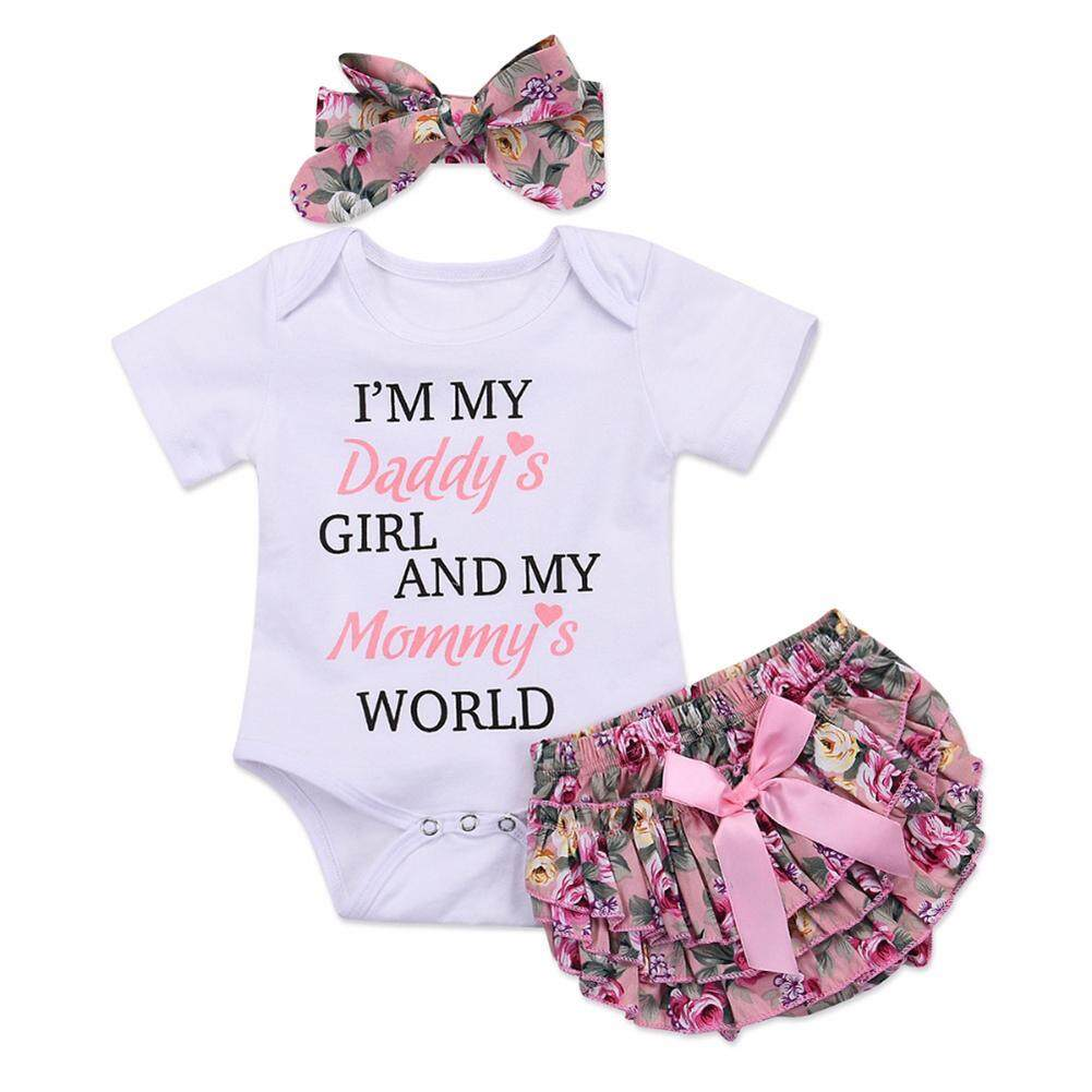 add45a2f595c1 3 Pcs Summer Baby Girl Clothes Set + Headband Short Sleeve Letter Print  Romper Tops Floral Briefs Shorts Outfits Set 0-2Y