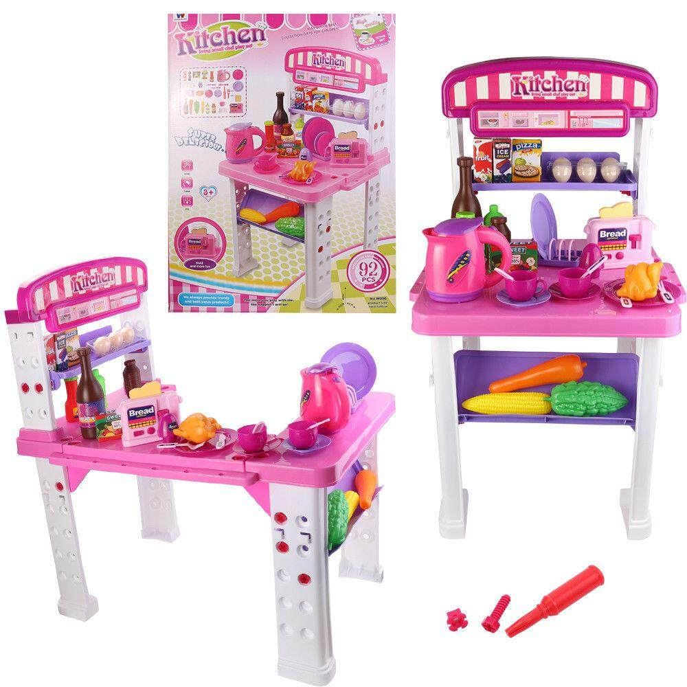 d62ceb41852bf 92Pcs Foldable Kids Children Kitchen Cooking Food Pretend Role Play Toy Set  Gift