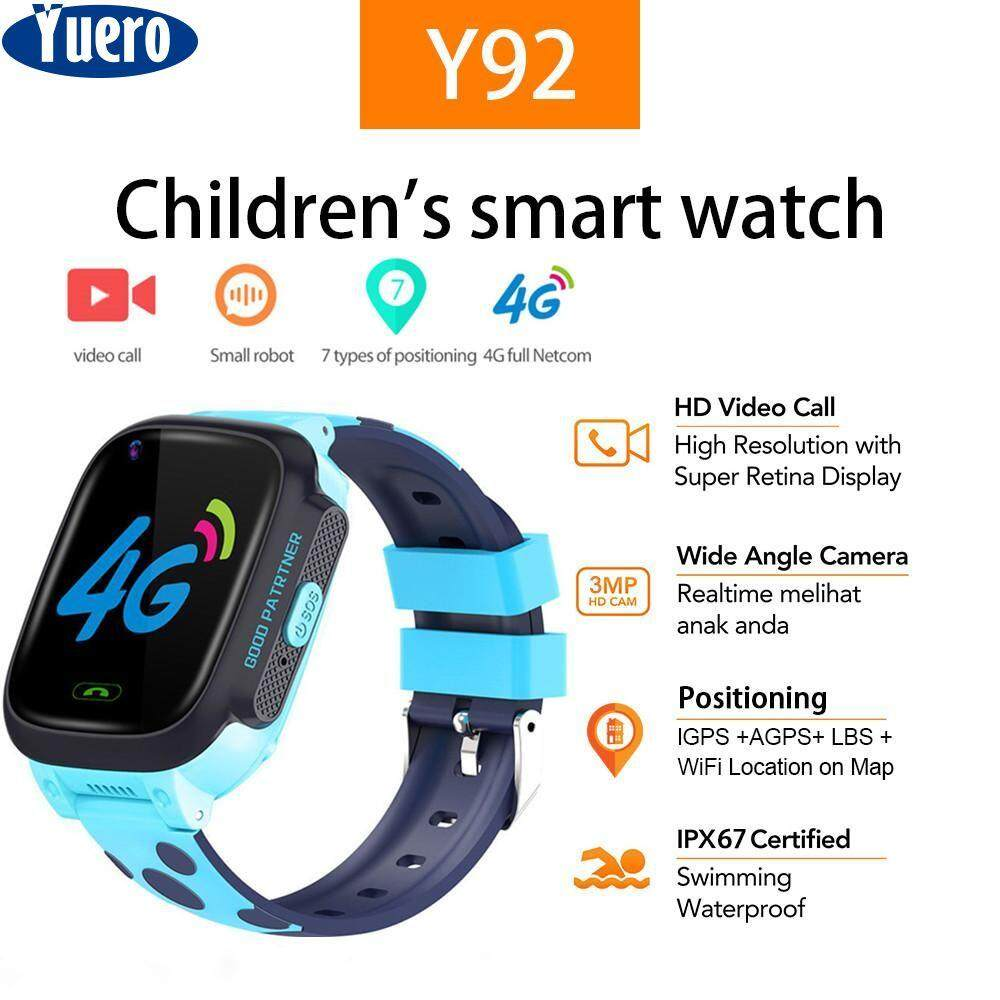 Yuero Waterproof Smart phone watch 4G Video Call Camera GPS WI-FI Kids  Children Students Wristwatch SOS Monitor Tracker smartwatch android jam  tangan