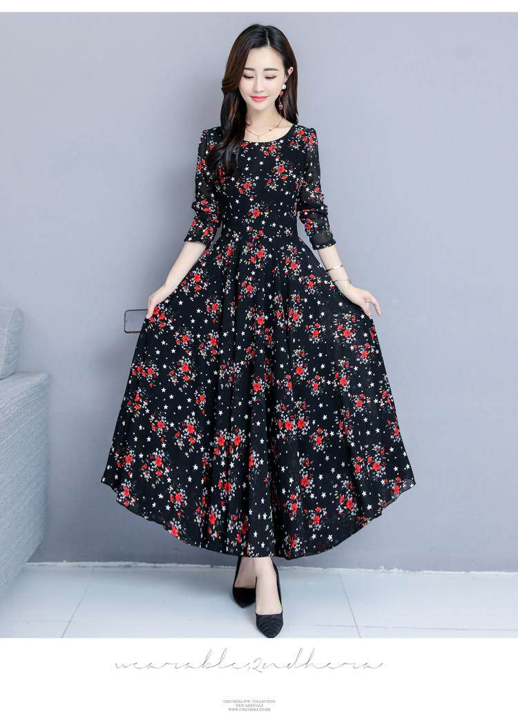 0235a8d639bf Women s Round Neck Long Sleeve Floral Maxi Dress