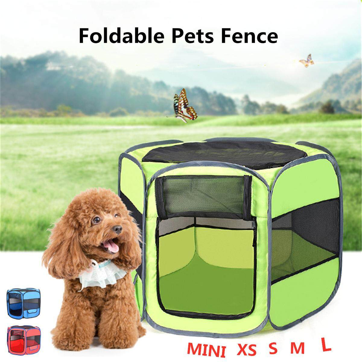 Large Dog Cat Pet Tent Cage Folding Kennel Puppy Playpen House Bed Fence Cage Blue Mini By Autoleader.