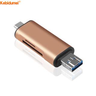 Kebidumei Đầu Đọc Thẻ OTG Type C 3 Trong 1 USB 3.0 Kết Hợp Micro USB Với 2 Khe Cắm Thẻ TF, Cho Điện Thoại Thông Minh PC thumbnail