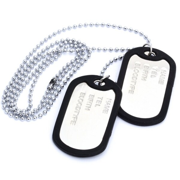Necklace chain pendant 2 plate identity Dog Tag alloy fashion men