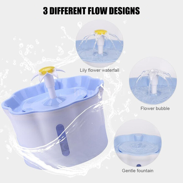 2.6L Flower Triple Action Pet Fountain Dog Cat Drinker USB Charging Mute Feeder Bowl with Drinking Water Dispenser