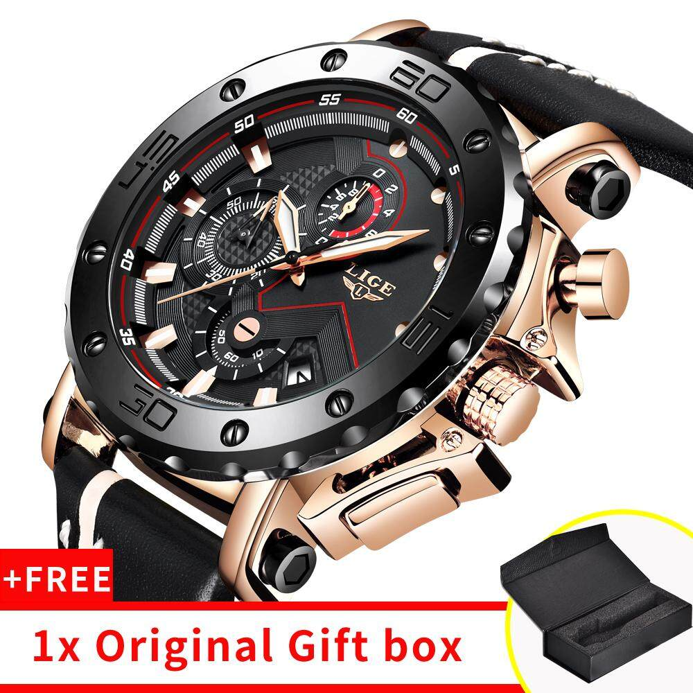 LIGE Mens Watches 2019New Fashion  Top Brand Luxury Big Dial Military Quartz Watch Leather Waterproof Sport Chronograph Watch Men Malaysia