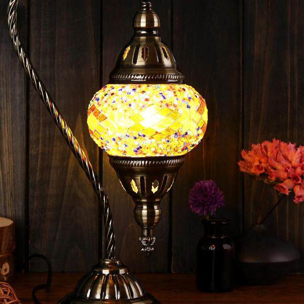 100% Handmade Turkish Moroccan Ottoman Style Swan Neck Mosaic Table Lamp