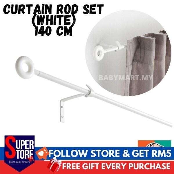 IKEA IRJA Curtain Rod Set White 140cm Besi Langsir Rumah Original Product
