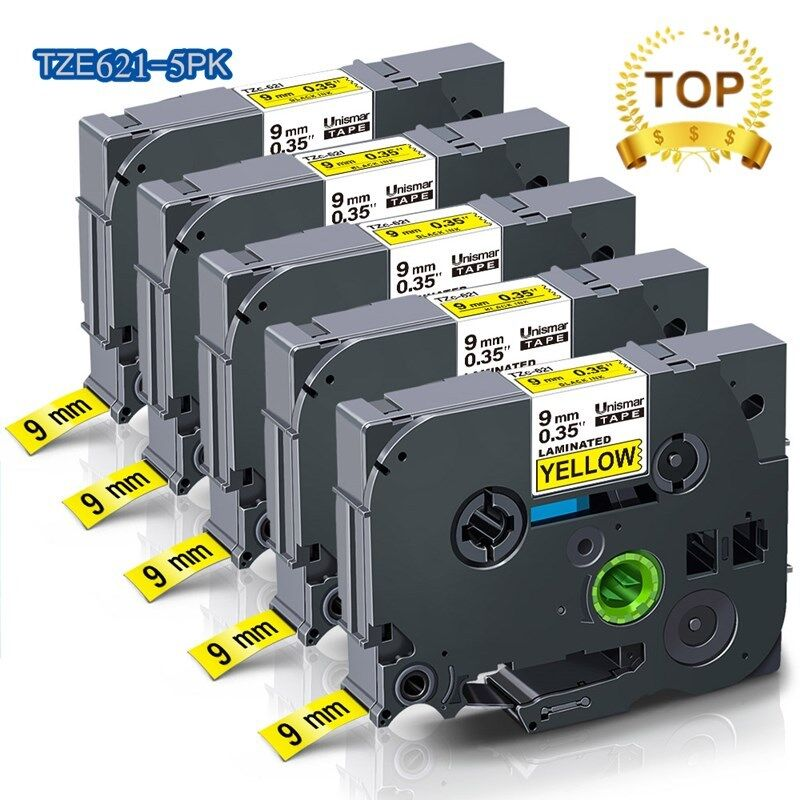 5 cái Tương thích với Brother P-Touch đen trên Vàng TZe-621 TZe-621 TZ-621 nhiều lớp băng cho TZ PT-D210 PT-H110