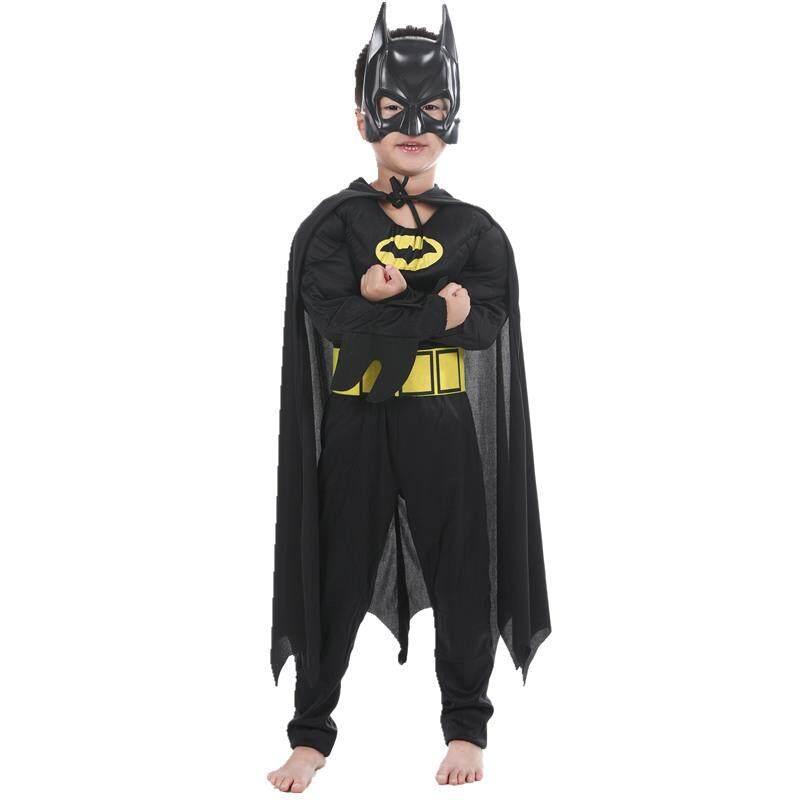 Anak-anak Otot Kapten Kostum Anak Cosplay Batman Halloween Kostum untuk Anak Laki-laki