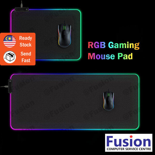 RGB LED Gaming Mouse Pad Non-Slip Waterproof Rubber Base and Durable Stitched Edges for Gamer Malaysia