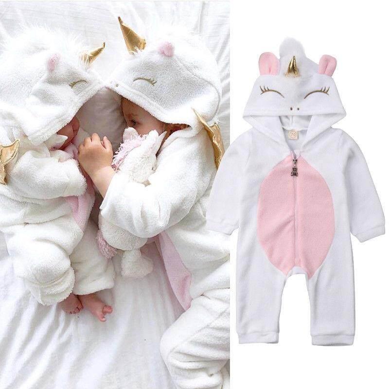 8948c4cb37a6 3D Unicorn Newborn Baby Girls Flannel Romper Jumpsuit Bodysuit Outfits  Clothes