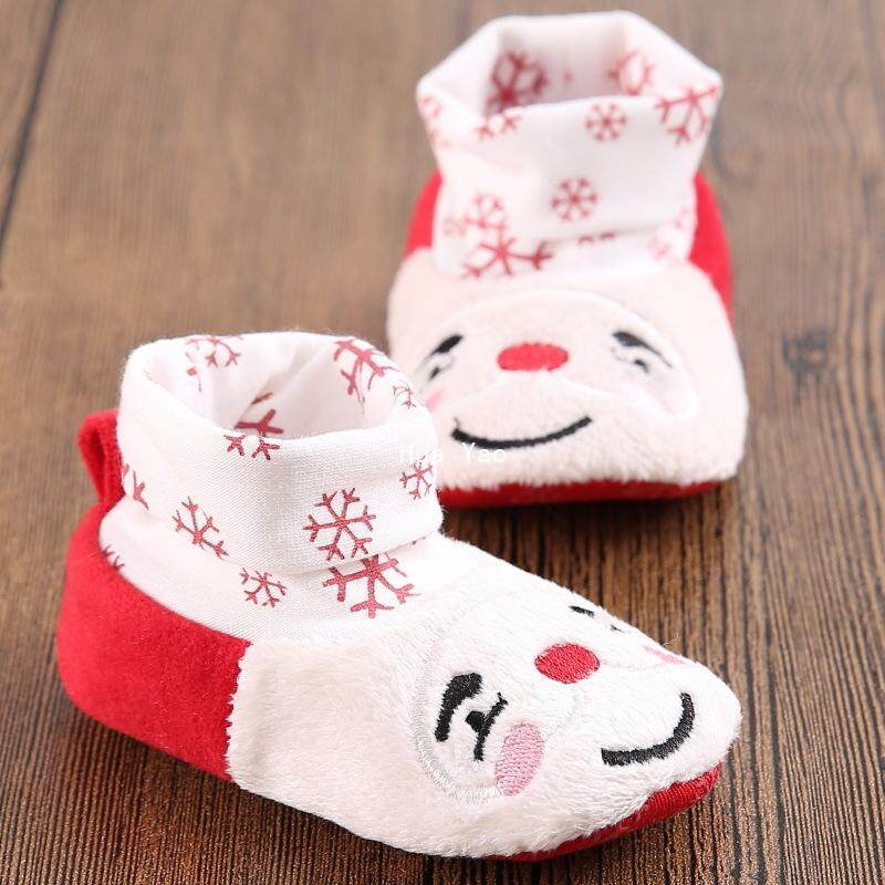 Hy Mùa Đông 0-1year Cũ Giáng Sinh Nam Và Nữ Giày Cho Bé Mềm Mại Tầng Dưới Cùng Giày Không Ngủ Giày Tập Đi Cho Bé By Huayao.