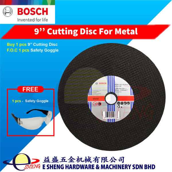 Bosch 9'' Cutting Disc For Metal (230mm x 3.3mm x 22.23mm) – 3165140142663 F.O.C Safety Goggle