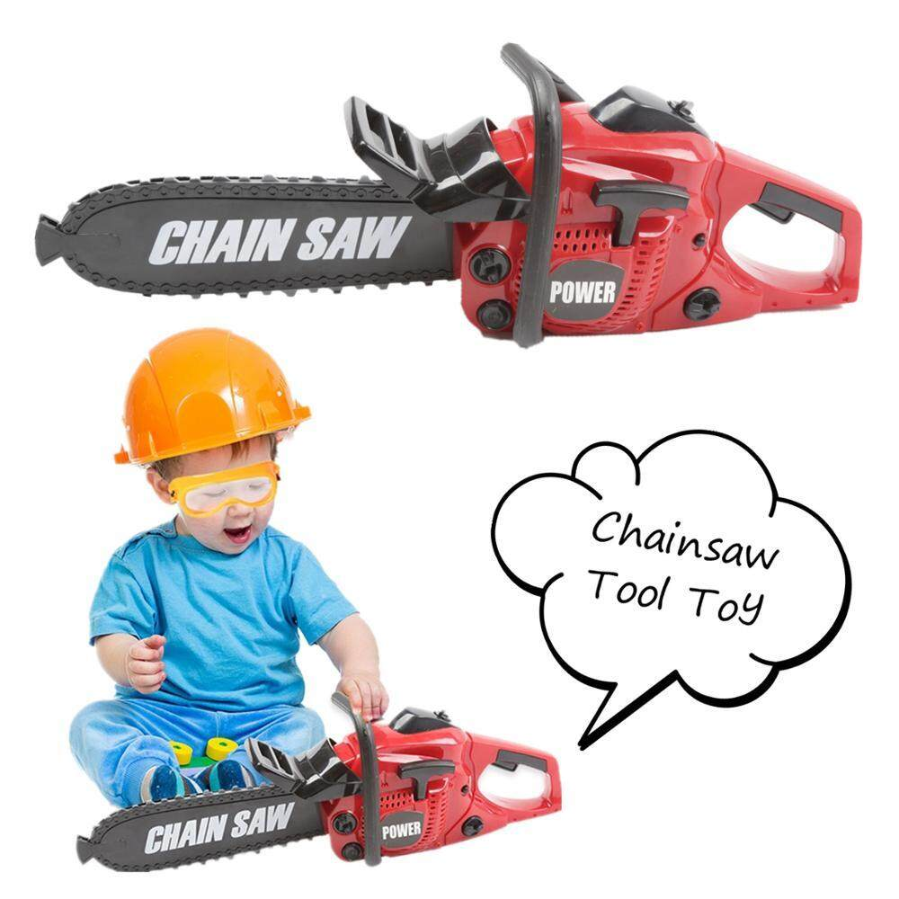 Power Tool Electric Chainsaw Toy Construction Tool for Kids Pretend Play Rotating Electric Saw with Realistic Movement and Sound