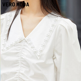 Vero Moda Áo Xếp Nếp Cổ Nhọn Bằng Cotton Cho Nữ 321351011 thumbnail