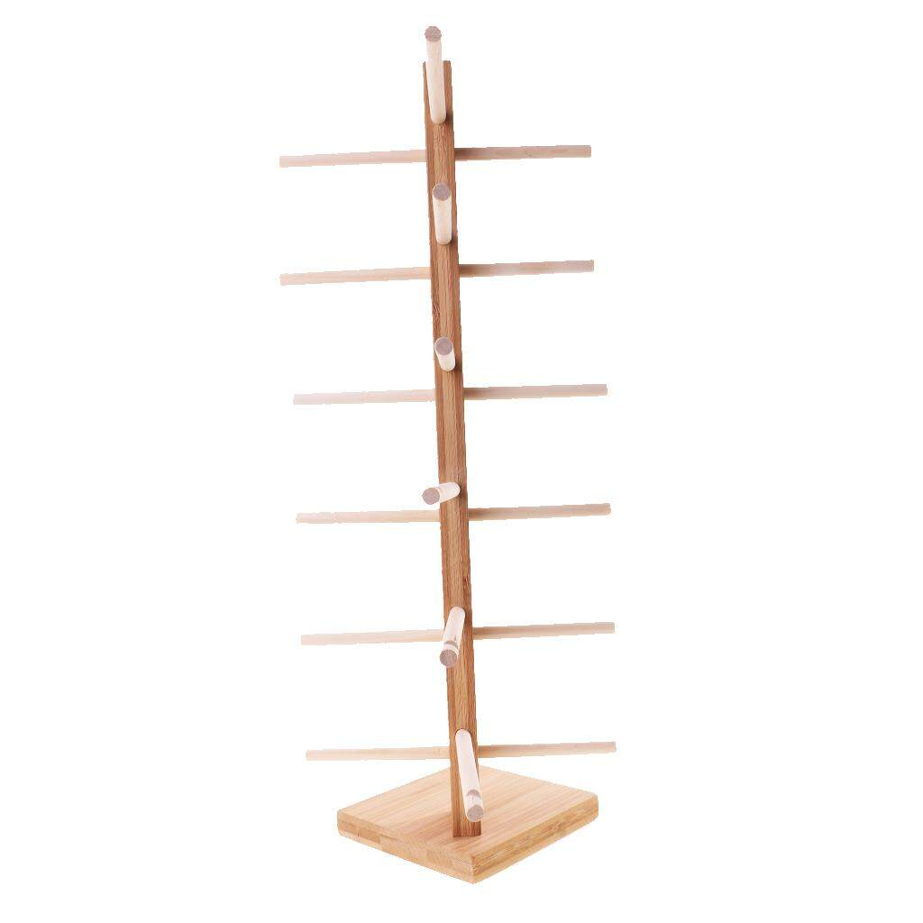 Loviver Wooden Sunglass Eyeglass Frame Rack Display Stand Holder Organizer 6-Layer