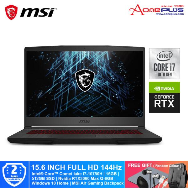 MSI GF65 Thin 10UE-201MY Gaming Notebook Black 9S7-16W212-201/ i7-10750H/ 512GB.SSD/ 16GB/ NV RTX3060 Max-Q 6GB/ 15.6-Inch FHD 144Hz/ Win10 Home + Free Premium Gift Malaysia