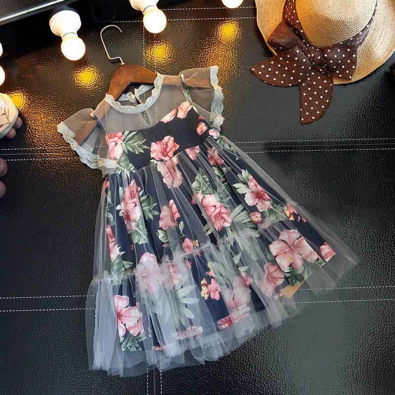 Mùa hè Cho Bé Gái Thiết Kế Lưới Váy In Hoa Muỗng Không Tay Cuộc Thi Sundress Nhật Bản