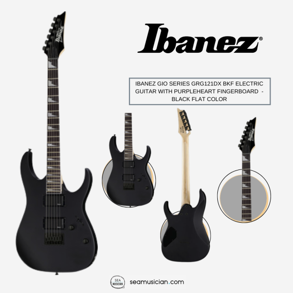 IBANEZ GIO SERIES GRG121DX BKF ELECTRIC GUITAR WITH PURPLEHEART FINGERBOARD AND 2 HUMBUCKING PICKUPS - BLACK FLAT COLOR Malaysia