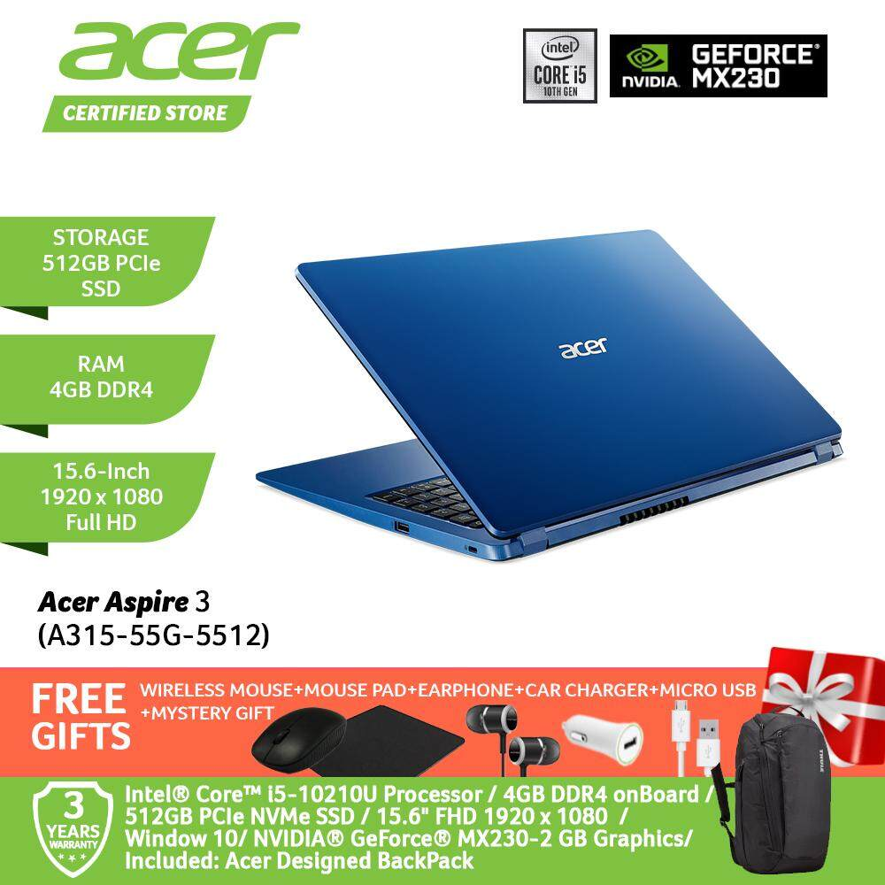 Acer Aspire 3 A315-55G-541R/ A315-55G-5512/ A315-55G-59AE Notebook /i5-10210U/4GB/512GB/MX230-2GB WIN 10/15.6-Inch FHD+Free WIRELESS MOUSE+MOUSE PAD+EARPHONE+CAR CHARGER+MICRO USB +MYSTERY GIFT Malaysia