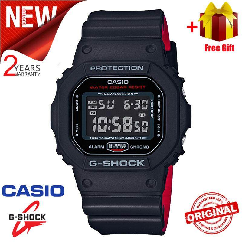 Casio watch Men G Shock_Sport Watch Classic Square 200M Water Resistant Shockproof and Waterproof World Time LED Light Wist Sports Watches with 2 Year Warranty DW5600HR-1 Black Red Malaysia