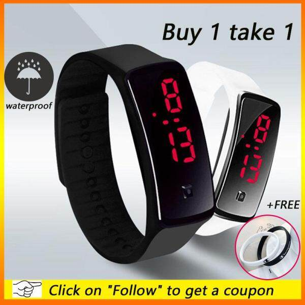 [Free Fashion Bracelets][Buy 1 Take 1]XiaoMuShan Store 2 Pcs/Set Fashion LED Watch Electronic Sports Bracelet Watch Waterproof Resin Strap Malaysia