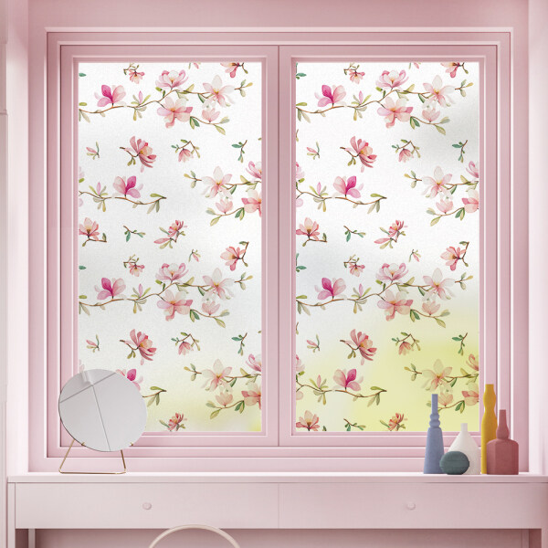 DKtie glass stickers flowers small yellow flowers small fresh patterns frosted glass film window stickers home decoration window decoration window film children and girls