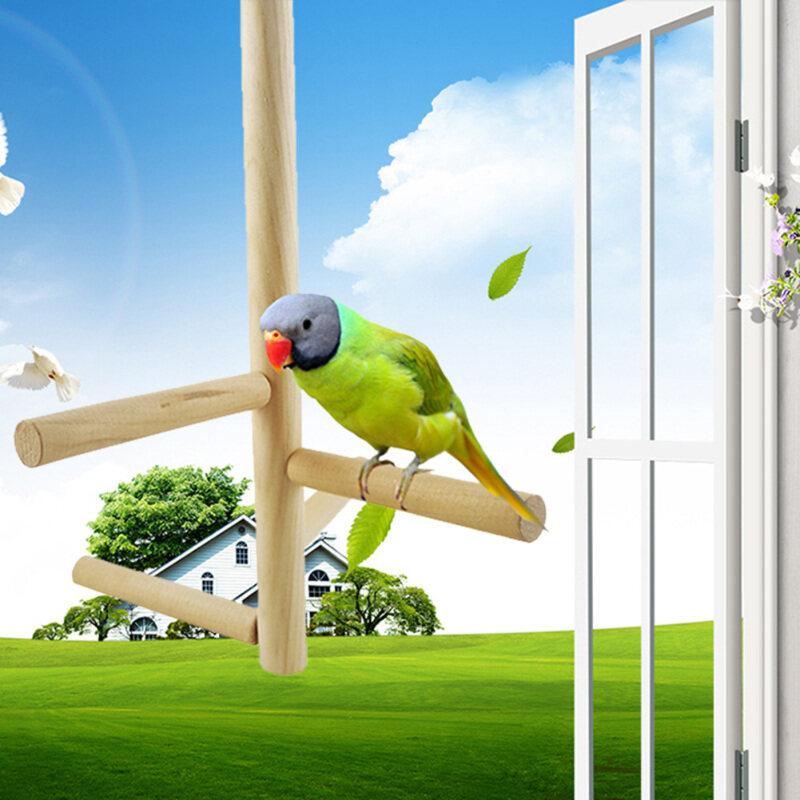 4 Bước Gỗ Xoay Đứng Bar Cầu Thang Đồ Chơi Cho Chim Vẹt Lồng