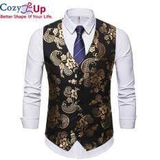 Áo Vest Cozy Up Cổ Chữ V Cho Nam, Áo Gi-lê Tuxedo In Họa Tiết Kim Loại Phong Cách Hipster