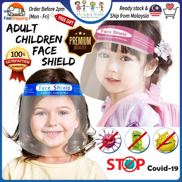 [Happy Kids] 2 Color Adult Children Mask HD Clear Vision Anti-Fog Reusable Adult Face Shield Kids Face Shield防护面罩Topeng Pelindung-MA13
