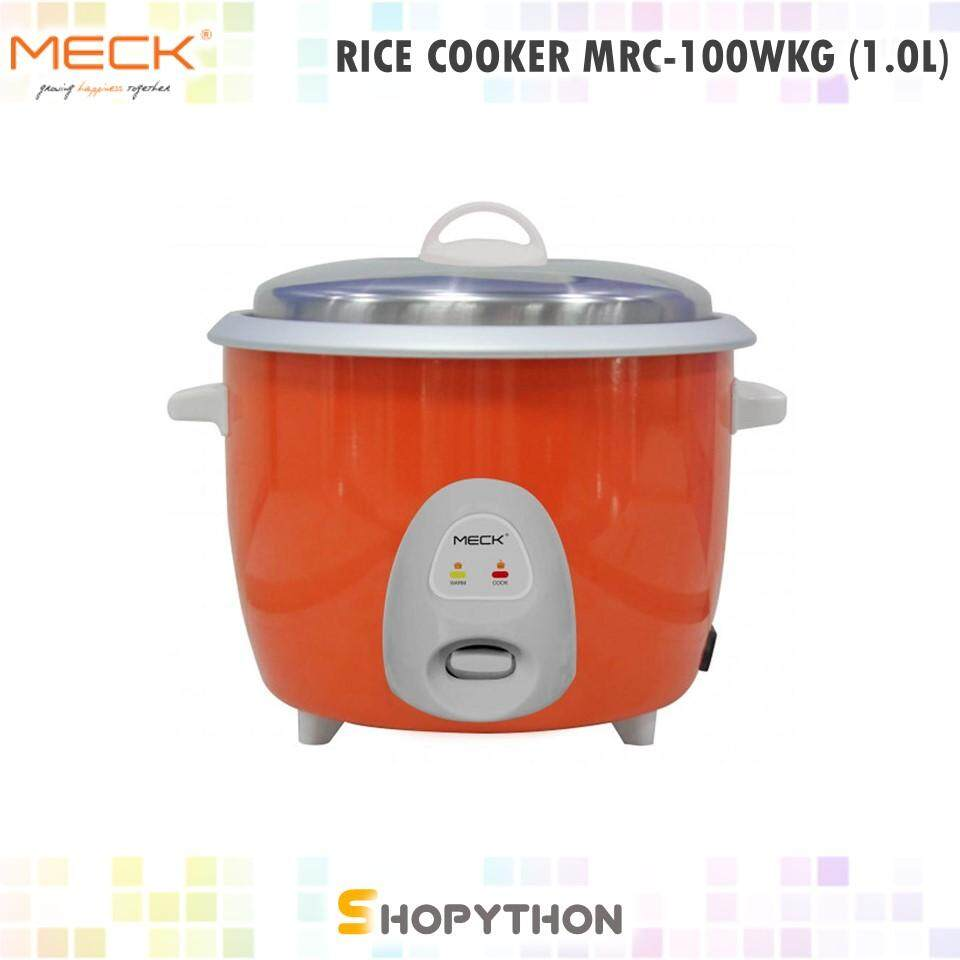 MECK Electric Rice Cooker MRC-100WKG (1.0L) Automatic Periuk Nasi Aluminium Inner Pot Keep Warm Function Measuring Cup Paddle