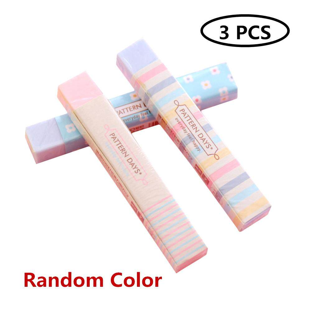 3pcs Colorful Strip Shape Students Erasers Cute Rainbow Pencil Eraser Office School Stationery (random Color) By Eshopdeal.