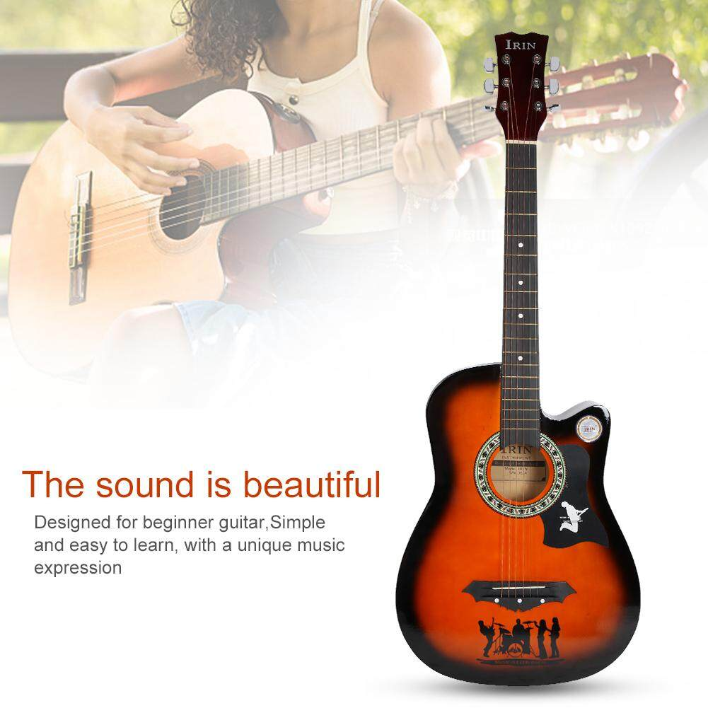 38 Inch Acoustic Basswood Folk Guitar Set for Beginners Guitar Accessories  Without Battery