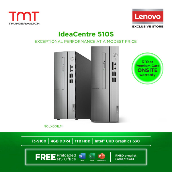 Lenovo IdeaCentre 510s-07ICB 90LX001LMI ( i3-9100, 4GB D4,1TB HDD, Intel Share, OPI Microsoft Office Home and Student) Malaysia