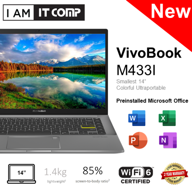 Asus VivoBook S14 M433I-AEB004TS 14 FHD Laptop ( RYZEN 7/8GB/512GB SSD/RADEON/W10 ) FOC Wireless Mouse & Backpack Malaysia