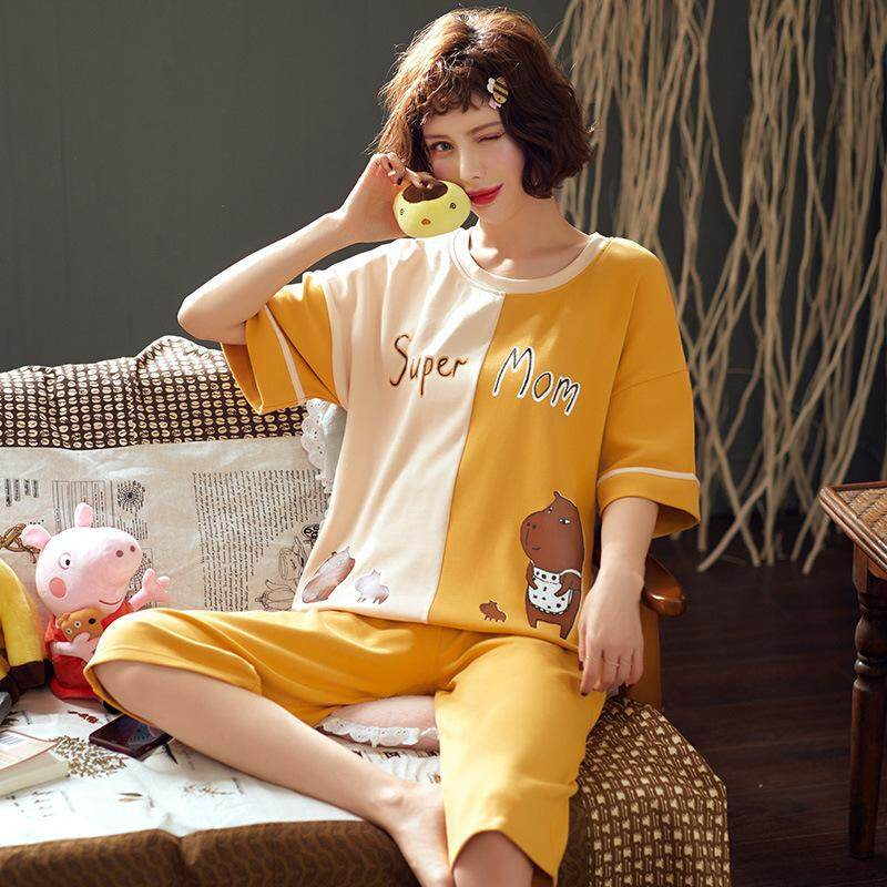 Young Women Pajamas Set Summer Short Sleeve Cotton Home Clothes Two Piece Set Sleepwear