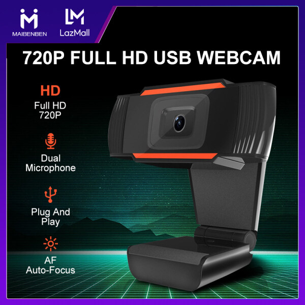 [Local Warranty] MAIBENBEN 720P Full HD USB Webcam Computer Accessories Built-in Dual Microphones Auto Low-Light Correction For Home Based Learning Remote Working Google Meeting FB Live ZOOM Skype Free Shipping