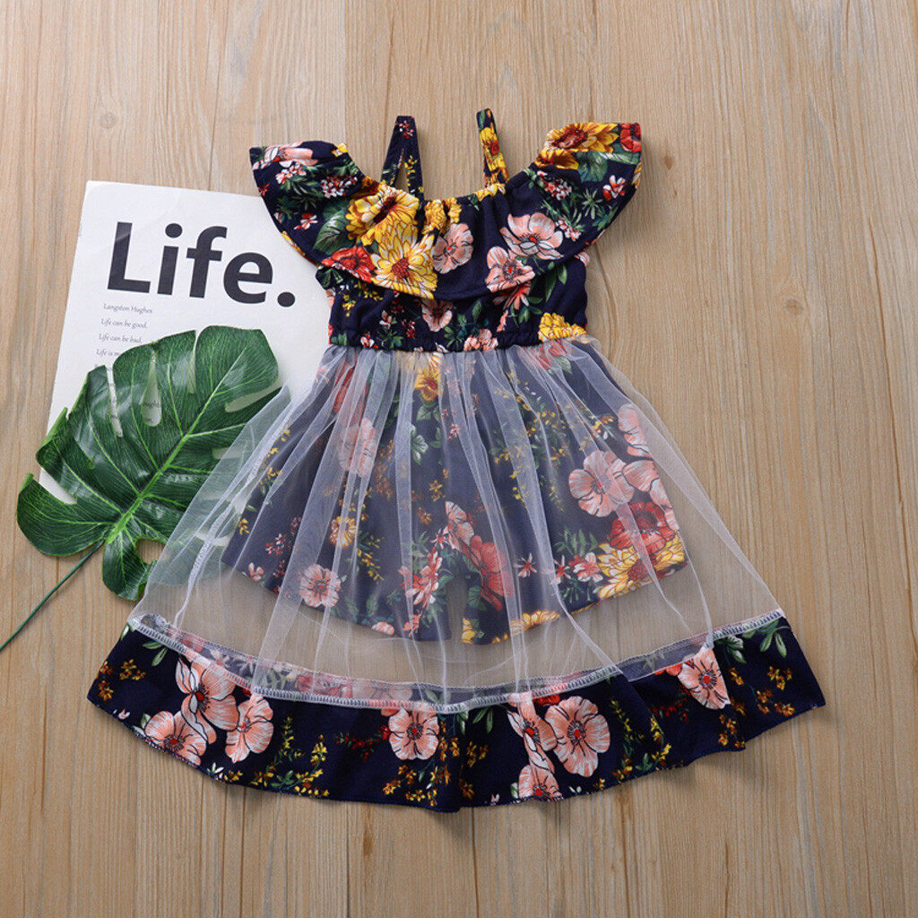 Toddler Kids Baby Girl Summer Clothes Floral Party Pageant Princess Vest Dresses